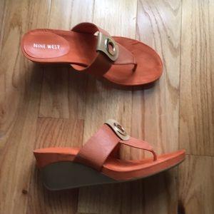 Nine West orange wedge sandals